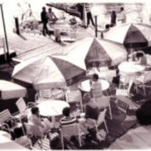 1975.  The patio and main visitors dock taken from the roof deck of the clubhouse.